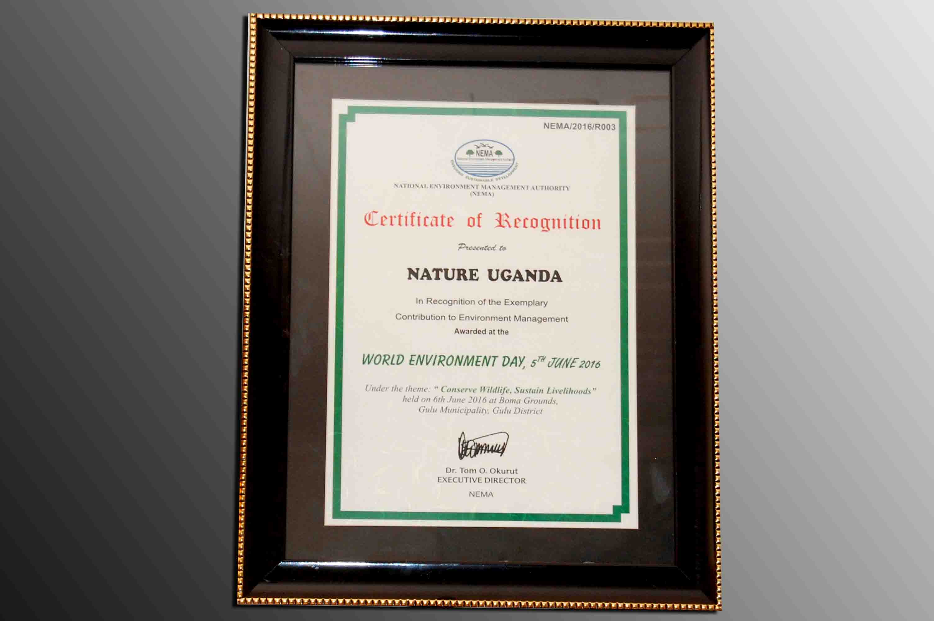 Certificate of Recognition - World Environment Day