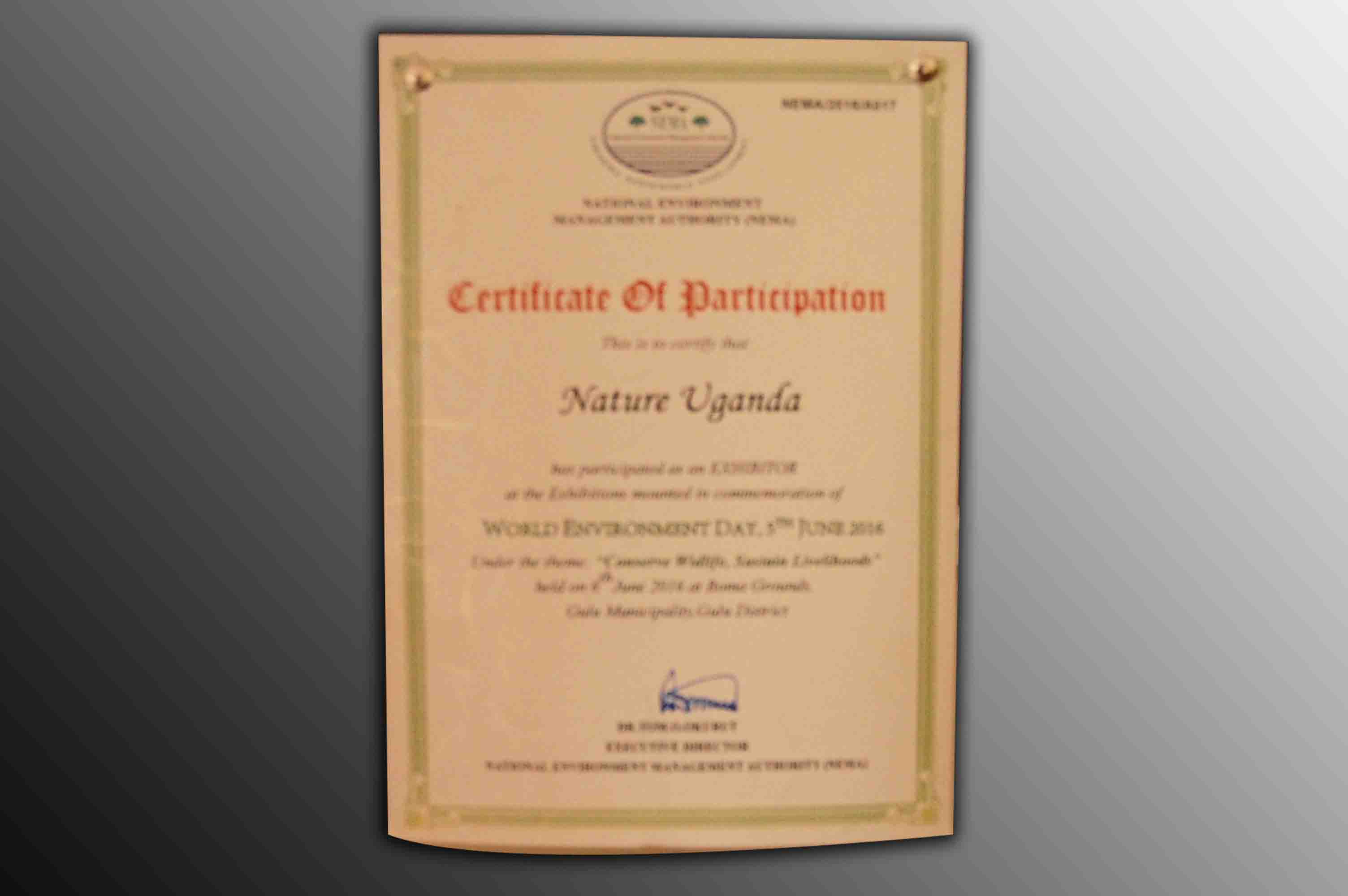 Certificate of Participation World Environment Day